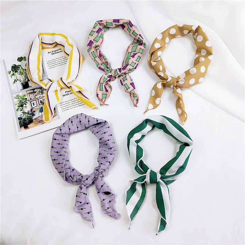 33*85cm Small Hair Tie Band Decorative Multifunctional Head Wrap Multicolor Stripe Print Kerchief Neck Elegant Triangle Scarf