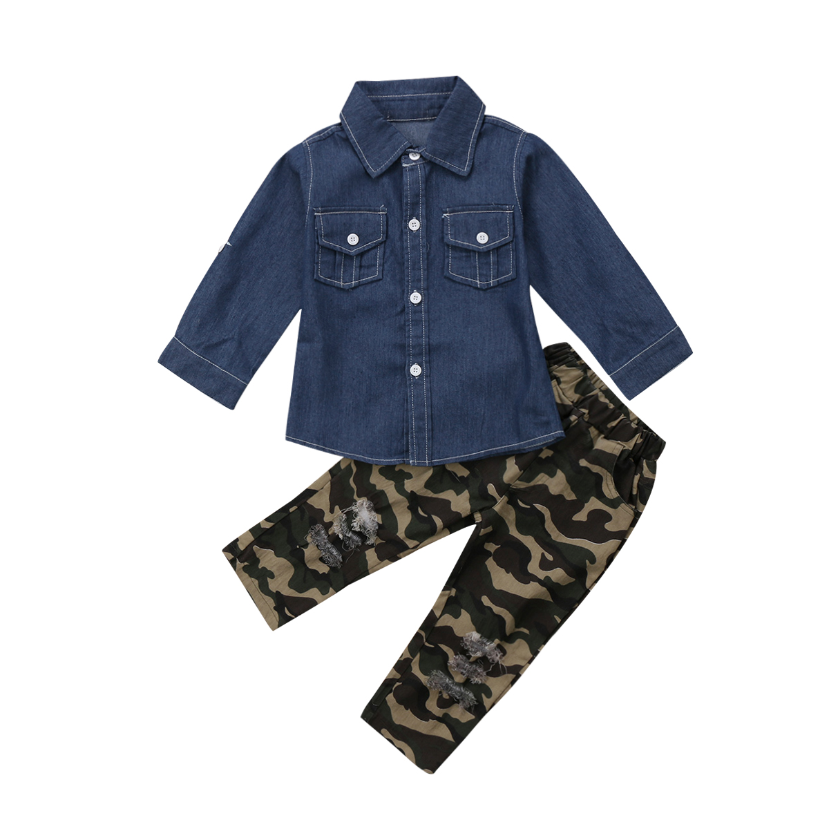 31233569e15e7 Online Shop Toddler Girls Clothing Denim Shirt Top Camoufalge Pants  Leggings Clothes Outfit Set 1-7T | Aliexpress Mobile