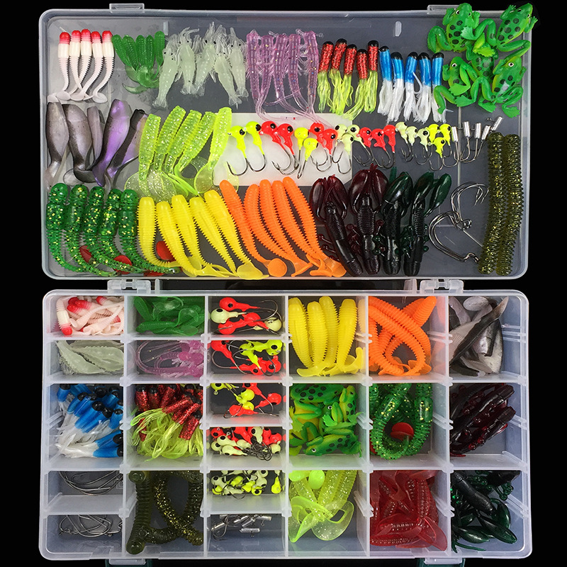 1Set Soft Fishing Lures Mixed Soft Baits Earthworm Maggot Frog Fishing Lure Lead jig head Hooks