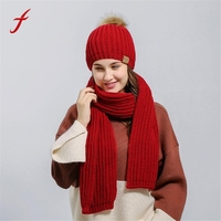 Women Crochet Hat Fur Woolen Knit Beanie Raccoon Warm Caps Scarf Shawl Suit Female Cap Autumn