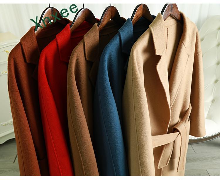 Xnxee шерстяное пальто 2019 зимняя женская верхняя одежда из альпаки верхняя одежда средней длины с длинным рукавом и отложным воротником Верхняя одежда