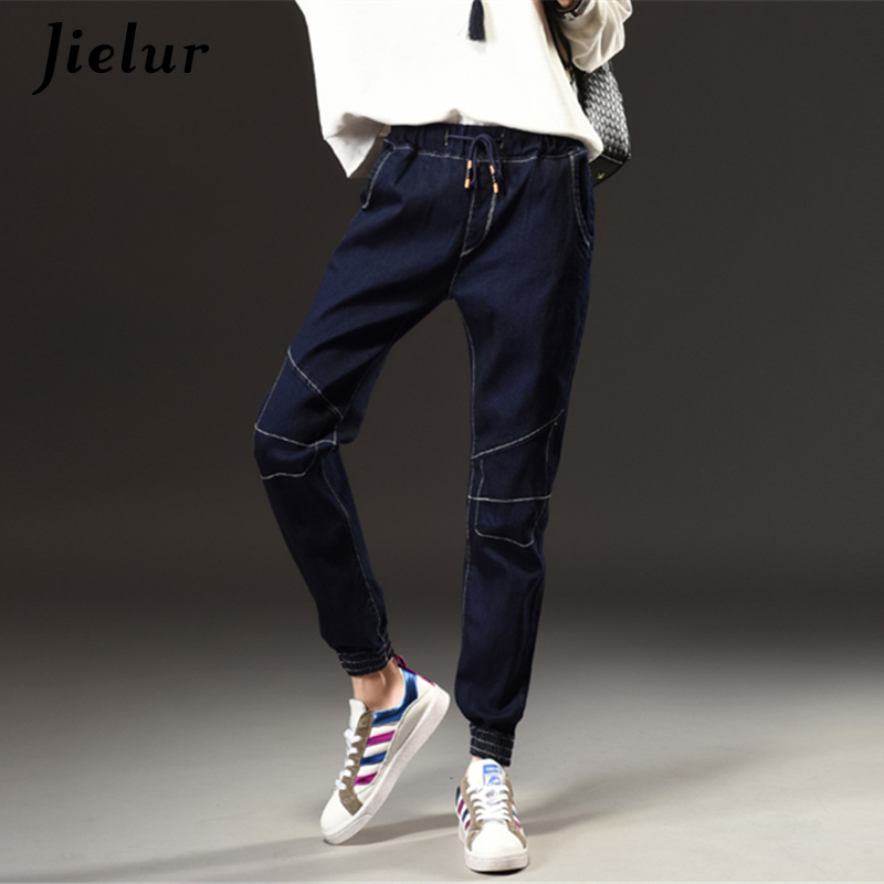 Winter Autumn New Fashion Simple   Jeans   Woman Elastic Waist Dark Blue Plus Size   Jeans   Female Pockets Leisure Casual Harem Pants