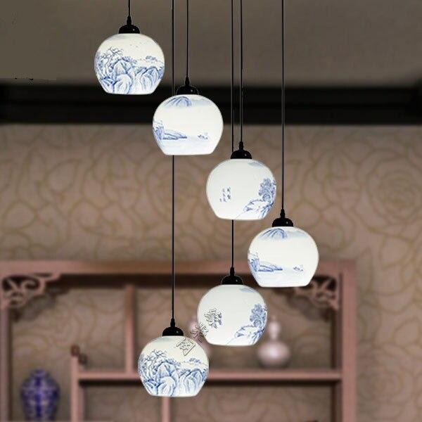 Jingdezhen ceramic lamp hand-painted landscape six pendant lights modern Chinese style lamps stairs villa lamp
