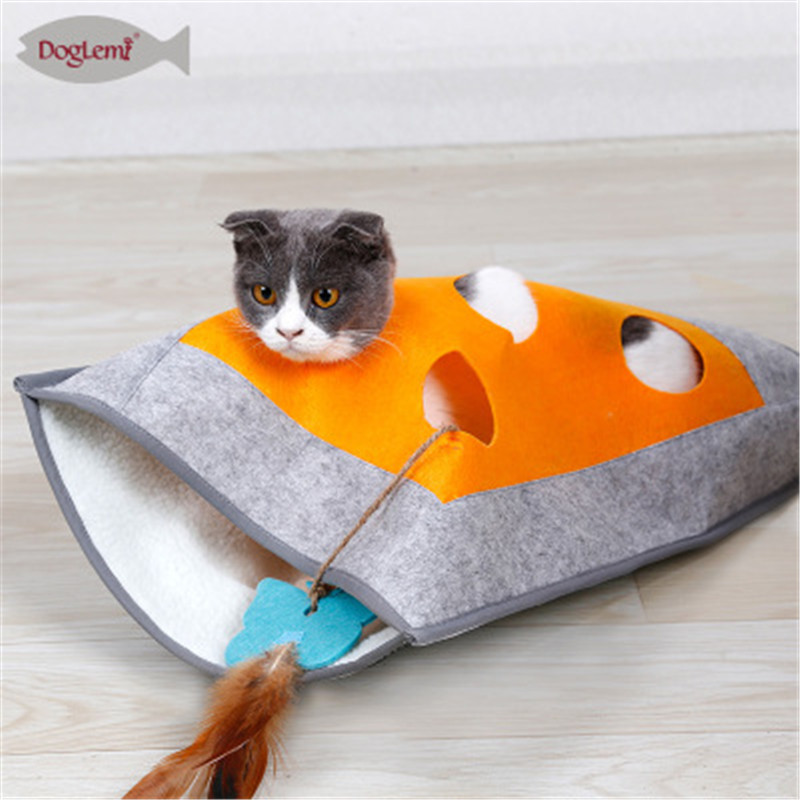 Puppy Pet Cat Dog Soft Warm Nest Kennel Bed Cave House Sleeping Bag tunnel catching and hiding blanket with ring paper