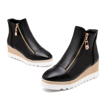 Hot selling 2016 Autumn Winter Women Wedges Shoes Ankle Boots Heels Women s Shoes Zipper Round