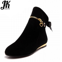 Plus Size 33 43 Fashion Bowtie Ankle Boots For Women Cute Flat Shoes Woman Round Toe