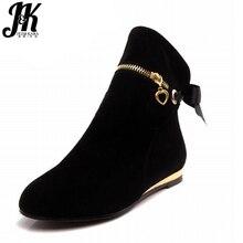 Модные женские ботильоны с бантом большие размеры 33–43 симпатичные туфли на плоской подошве с круглым носком короткие ботинки на сплошной подошве 5 цветов сезон осень-зима