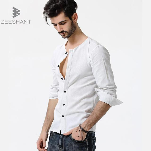 European Size Shirts Cotton Linen Men Shirt Long Sleeve Summer ...