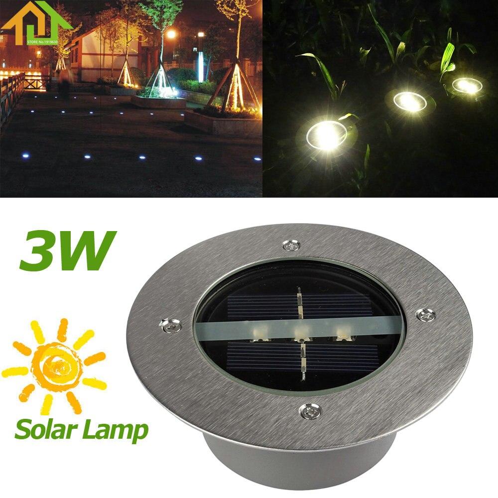 Открытый Солнечный Мощность 3 LED Похоронен Свет лампы Путь Сад под землей настил