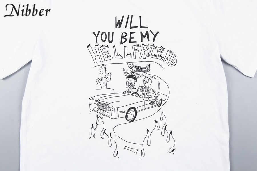 Nibber 夏ヒップホップルーズショートスリーブトップ tシャツ女性 2019 白コットン tシャツベーシックカジュアル tシャツレディースストリート着用トップス mujer
