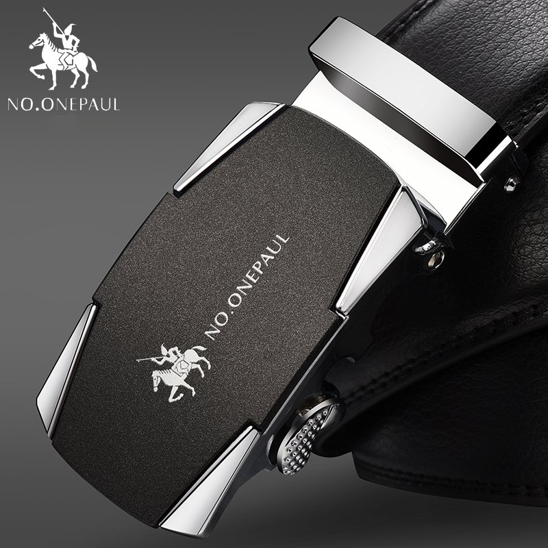 NO.ONEPAUL Men Tactical   Belts   For men Business Alloy Buckle ceinture homme Fashion Men's Automatic Buckle Leather   Belt   ZDC15