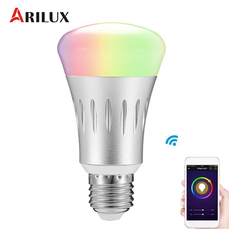 ARILUX Dimension LED Bulb Light E27 7W RGB + White Dimmable WIFI Smart LED Bulb Light  AC85-265V wifi rgb led lamp bulb dimmable e26 rgb color light for smart home support for alexa and google home