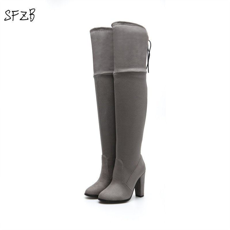 SFZB Size 34-43 Sexy Over the Knee Boots Women High Heels Shoes Woman Spring Boots Flock Thigh High Boot Female