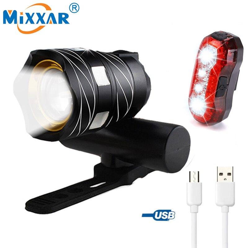 ZK30 T6 LED Fahrrad Licht Fahrrad Front Lampe Outdoor Zoomable Fackel Scheinwerfer USB Aufladbare Eingebaute Batterie 15000LM