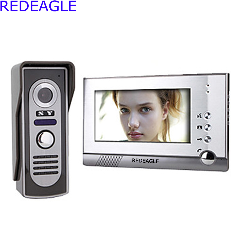 Home 7 Inch Color TFT LCD Video Door Phone Intercom System Night Vision Waterproof Camera tmezon 4 inch tft color monitor 1200tvl camera video door phone intercom security speaker system waterproof ir night vision 4v1