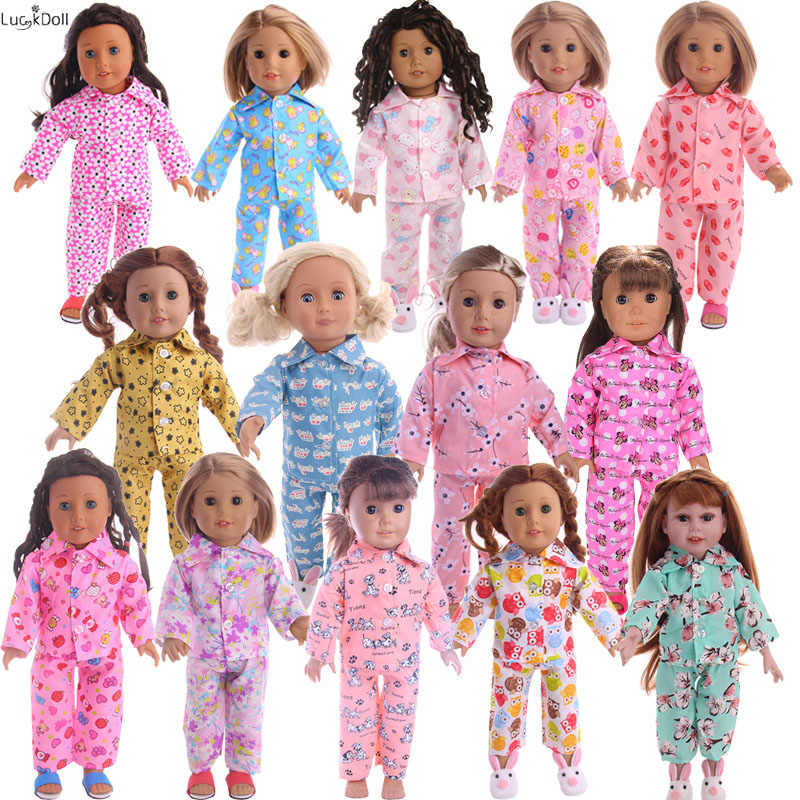 15Colors Cartoon Pajamas&Nightgown Fit 18 Inch American&43 CM Baby Doll Clothes Accessories,Girl's Toys,Generation,Birthday G