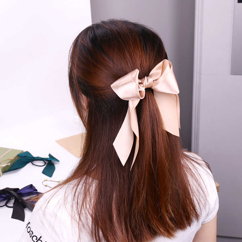 1PC Fashion Women Tiara Satin Ribbon Bow Hair Band Scrunchie Ponytail for Hair Rope Accessories Hairstyle Girl Headbands