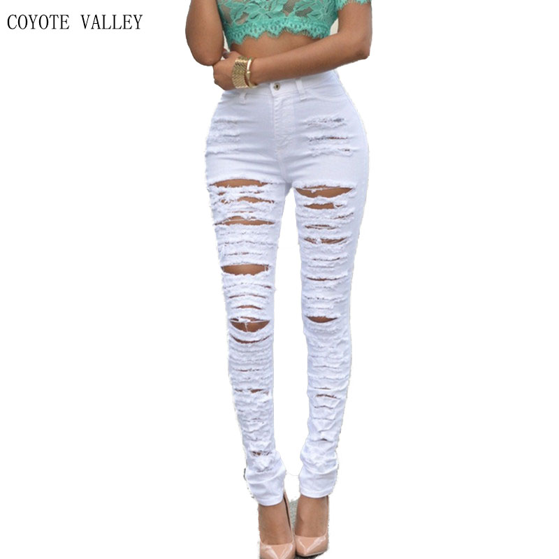 COYOTE VALLEY 2017 high quality fashion lady big hole jeans women Personality beggar torn stretch feet pants jeans woman