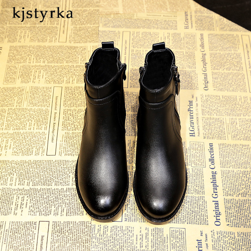 Kjstyrka 2018 fashion women boots high quality low heels ladies ankle boats winter boots women Patent leather Patent leather 2