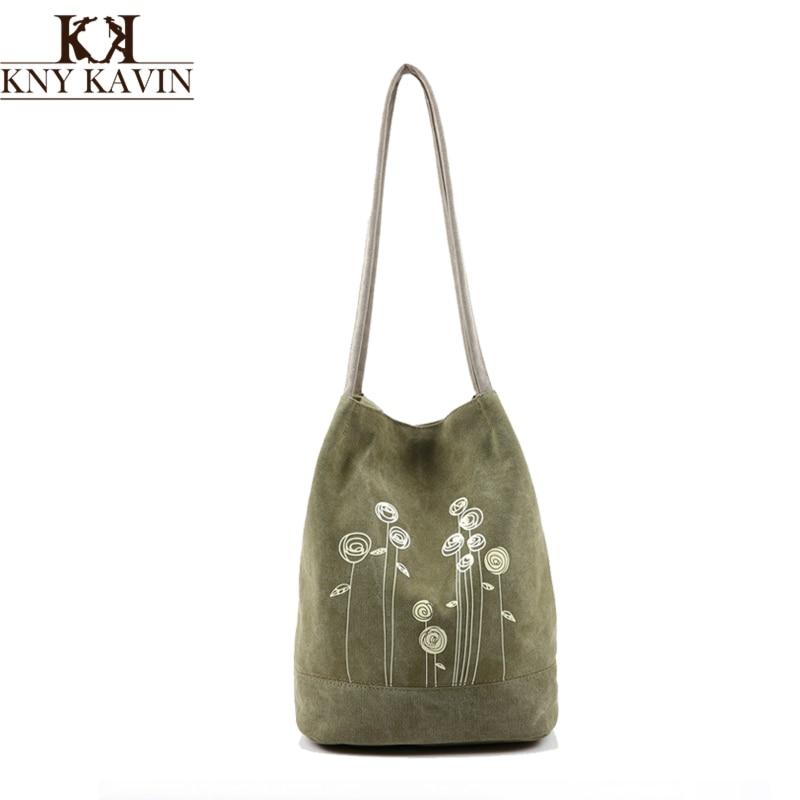 KNY KAVIN Women Shoulder Bag Canvas Bucket Handbags Girls Handbags Casual Floral Tote Bag for Shopping Travel Japanese Style