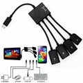 4 Порт Micro USB Power Зарядки OTG Hub Кабель Для Android Tablet Смартфон OTG Hub Cable Connector Spliter Черный