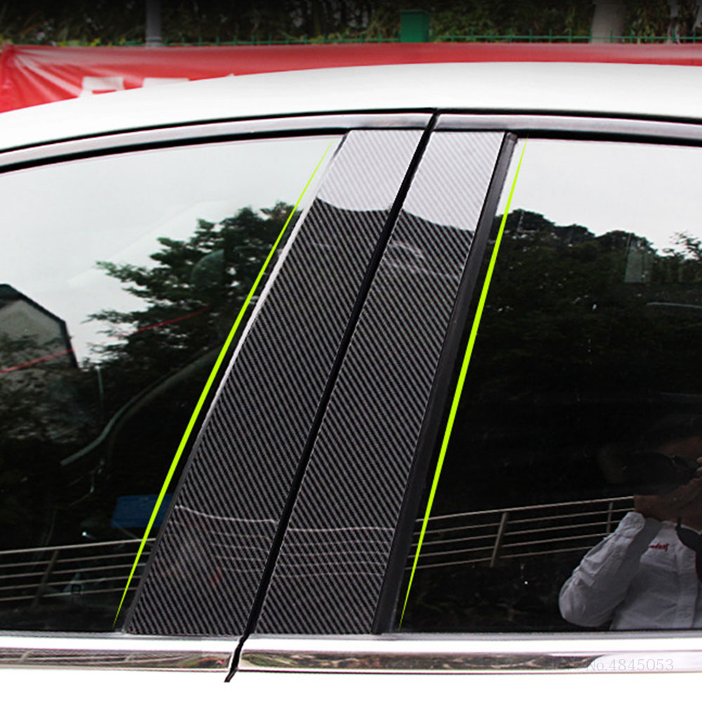 For Honda HRV HR-V Vezel 2014 to 2019 Carbon Fiber Window Trims Protector Cover Glass Strips B+C Center Pillars Car Styling 8Pcs