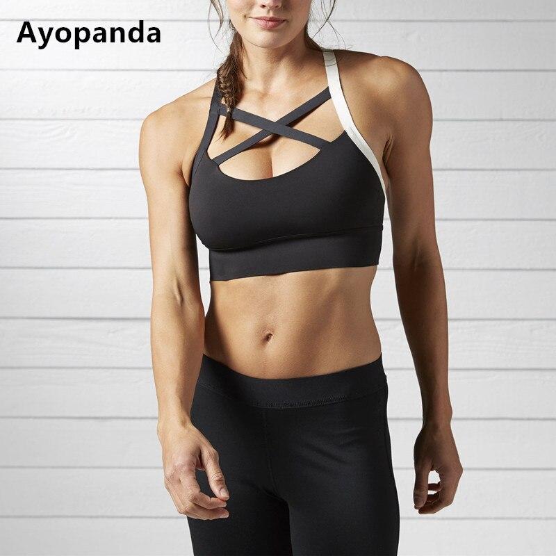 c72e381c3d062 Ayopanda New Cardio Padded Sports Bra Sweat-Wicking Breathable Fitness Sport  Yoga Top Medium-impact Crisscross Strap Workout Bra