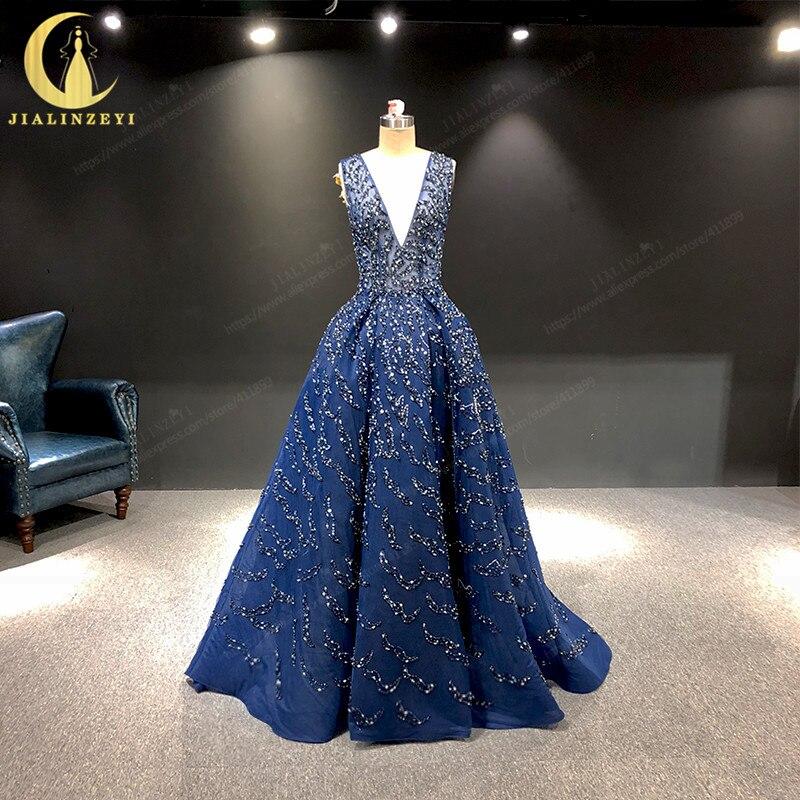 JIALINZEYI Real Image Luxurious Navy Blue Sliver Beads Zuhair Murad sexy Formal Dresses Evening Dress 2019