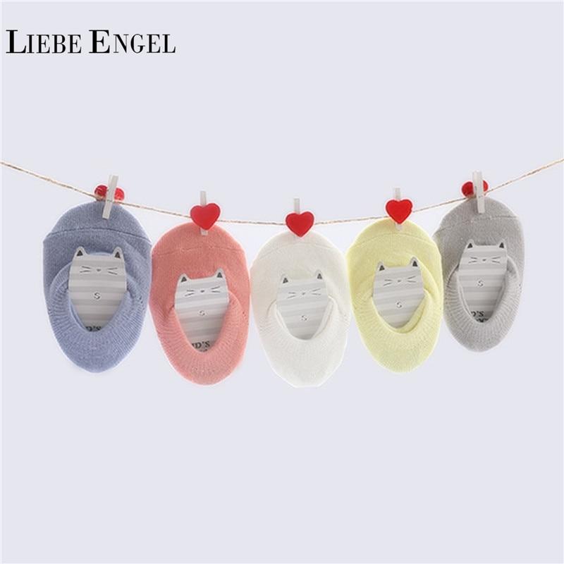 LIEBE ENGEL 5 Pairs/Lot Hot Sale Summer Baby Socks Cotton Short Anti Slip Ankle Socks For Infant Boys Girls Solid Color