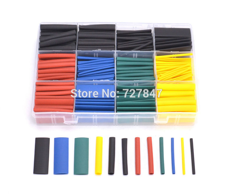 530pcs/set Heat Shrink Tubing Insulation Shrinkable Tube Assortment Electronic Polyolefin Ratio 2:1 Wrap Wire Cable for RC FPV unique disk style silicone heat insulation cup pads blue black 2 pcs