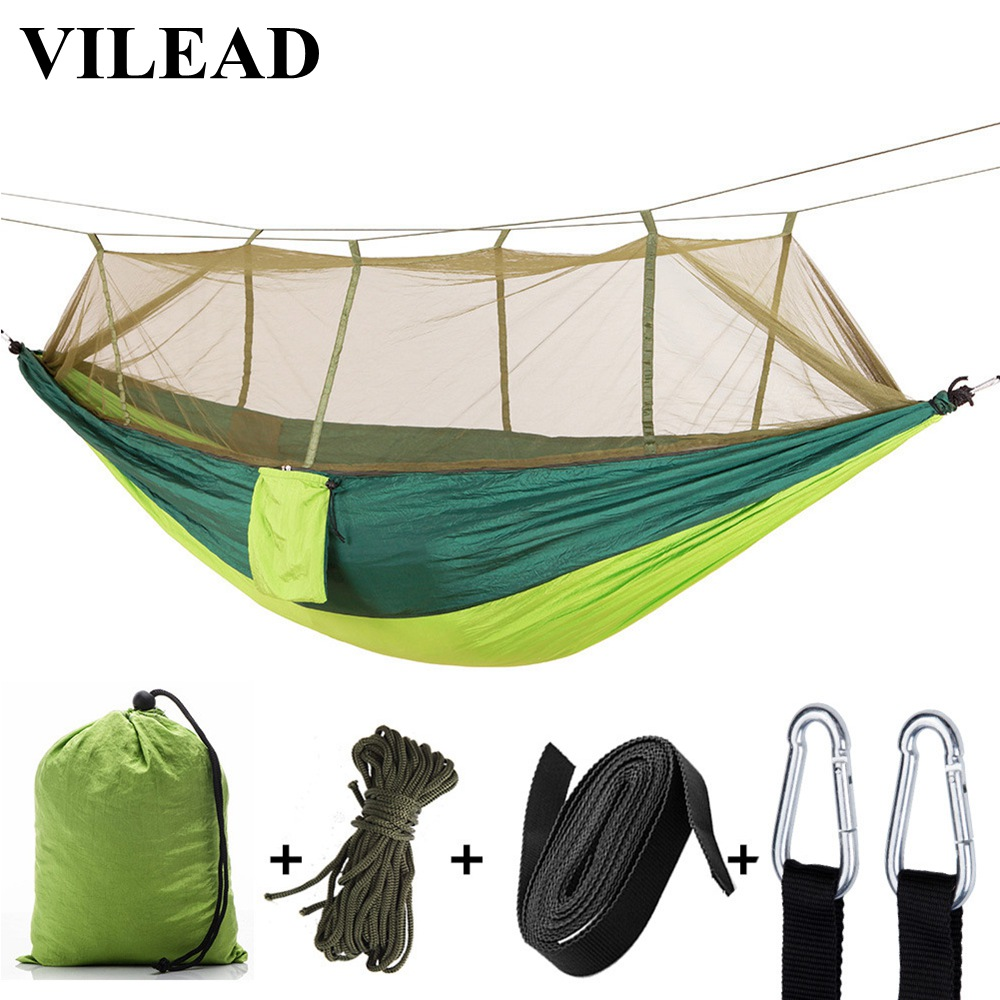 VILEAD 260*140 cm Camping Hammock with Mosquito Portable Stable High Strength Cavans  Hanging Bed Sleeping Hiking Camping Cot-in Camping Cots from Sports & Entertainment