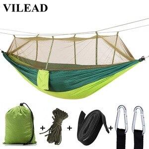 Image 1 - VILEAD 260*140 cm hamak kempingowy z komarami przenośne stabilne wysokiej wytrzymałości Cavans wiszące łóżko śpiące Camping łóżeczko