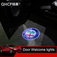 QHCP 2pcs Car Door Welcome lights For Alfa Romeo Giulia Stelvio Car LED Door Warning Light Projector Light (Logo Customizable)