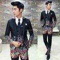 Flower Suit Men 2017 New Fashion Designer Suit Luxury Wedding Prom Suit Costume Floral Male Groom Party Suit Jacket+vest+ Pant
