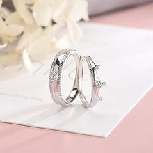 Crown S925 Sterling Silver Ring Couple Adjustable Fashion Wedding Anniversary Ring(China)