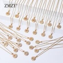ZMZY 26pcs/lots Wholesale Lots Bulk Mixed A Z Letter Necklace Stainless Steel Chain Necklace CZ Crystal Gold Color Pendant