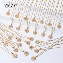 ZMZY Letter Necklace Pendant Crystal Bulk Stainless-Steel Gold-Color Wholesale CZ 26pcs/Lots