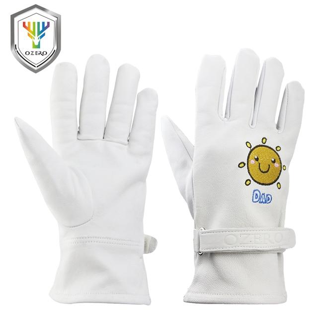 Ozero軍手ガンダー親子手袋革セキュリティ保護安全労働者溶接モト暖かい手袋用女性7003