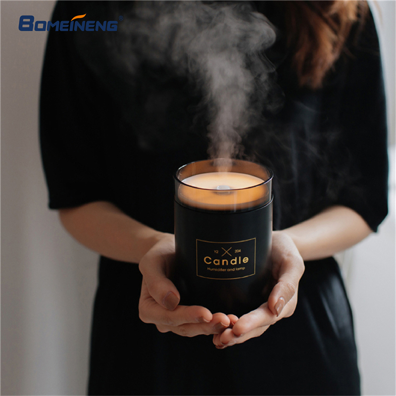 重复280ML Candle Air Humidifier Ultrasonic Essential Oil Diffusers Home Humidifier Aroma Oil Water Diffuser With Night Lamp Light
