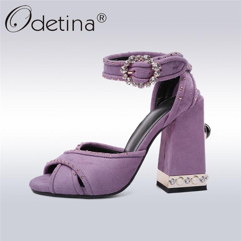 Odetina 2018 новая мода Натуральная кожа замша Kid сандалии женщин туфли лодыжки ремень Пип toe насосы квадратный каблук Леди туфли