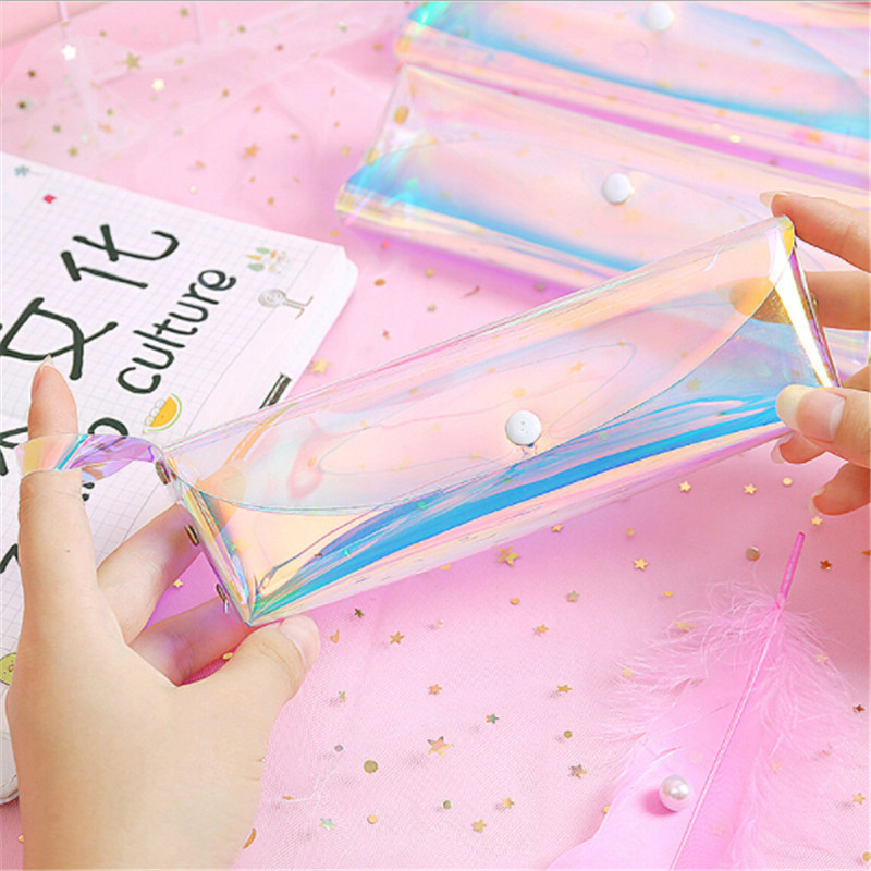 Small Transparent Cosmetic Bag New Laser Pen Bag Cute Travel Makeup Case Women Holographic Brush Bags Student Mini Pencil Pouch