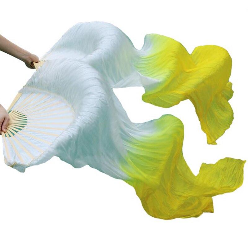 Image 4 - عالية الجودة 100% الحرير الصيني الحجاب المشجعين الرقص 1 زوج المشجعين الرقص الشرقي الخيزران الأضلاع الحرير طويل المشجعين 180*90 سنتيمتر اليدوية الرقص الدعائمdance fansilk veildance props -