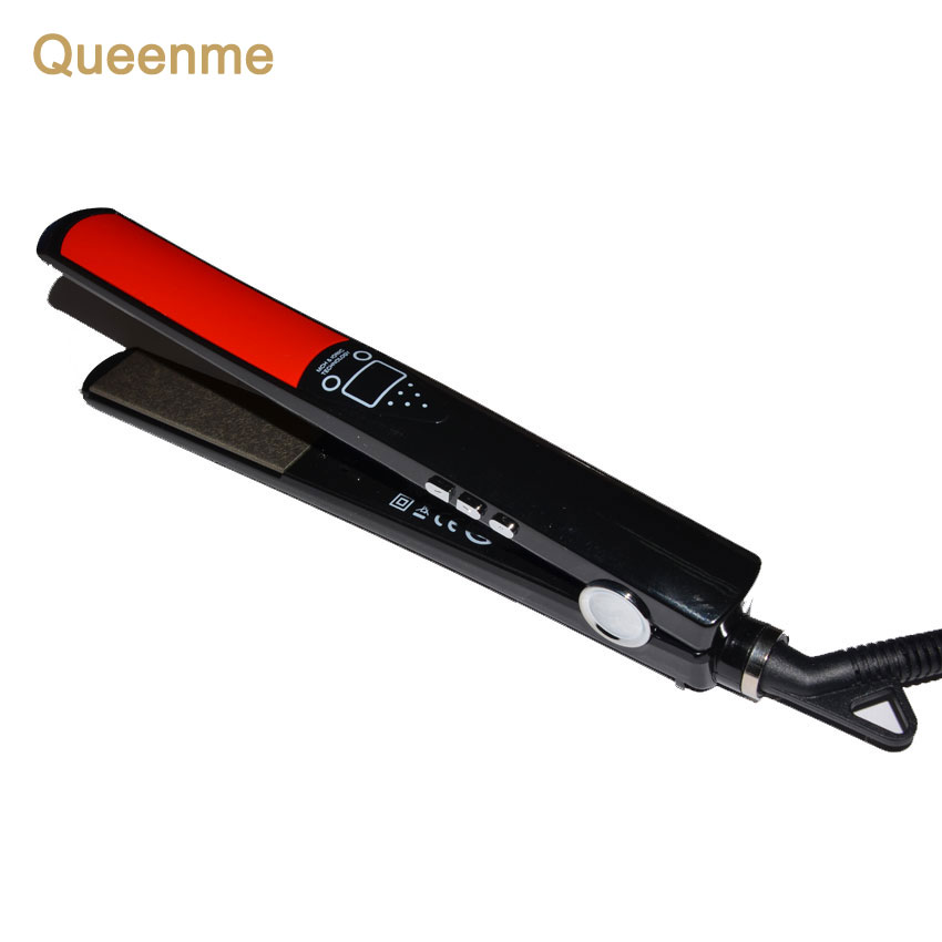 Queenme Titanium Plates Flat Iron LCD Display Hair Straightening Irons Styling Tools Professional Hair Straightener Iron professional vibrating titanium hair straightener digital display ceramic straightening irons flat iron hair styling tools