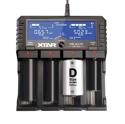 Original VP4 Plus Charger Universal LCD Screen Display USB Ni-MH/Ni-CD Li-ion Battery AA AAA 14500 26650 18650 Battery for XTAR evewher lcd 18650 battery charger 4 slots lithium battery charger for 26650 18650 14500 aa aaa charging li ion batteries charges