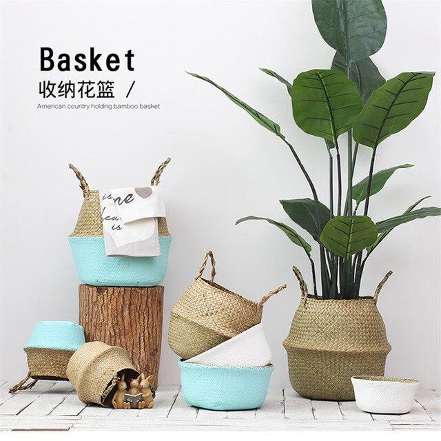 Whism ротанга живота корзина для хранения соломенная сумка-Органайзер корзина для белья ваза Горшки для проращивания домашнего декора комнаты