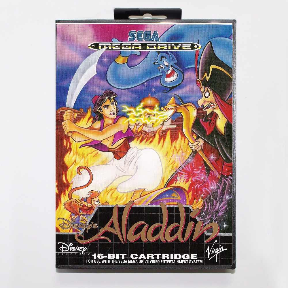 Aladdin Game Cartridge 16 bit MD Game Card With Retail Box For Sega Mega Drive For Genesis