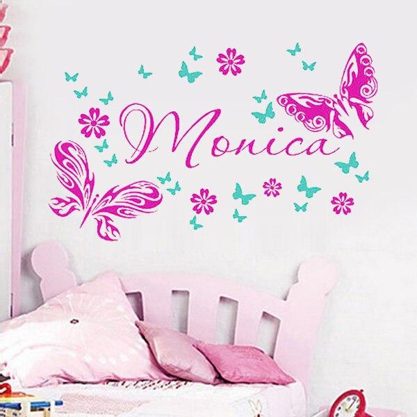 Nombre personalizado pared de la mariposa etiquetas beb - Decoracion dormitorio nino ...