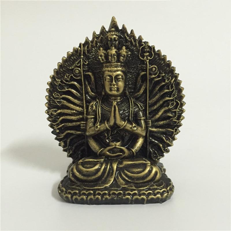 Chinese FengShui Thousand-hand Guan Yin Buddha Statue Bronze Color Carving Kwan Yin Buddha Sculpture Figurines Home Decoration