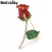 Wuli & bébé classique grand rouge strass Rose fleur broches femmes alliage plantes mariages fête Banquet broche broches