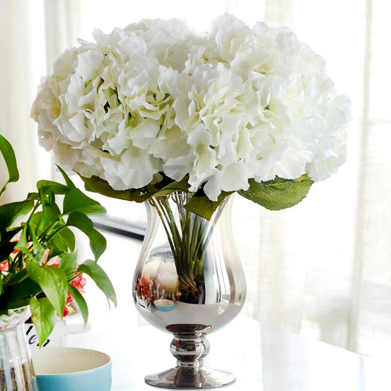 Artificial flower hydrangea bouquet 5 heads silk hydrangea flower artificial flower hydrangea bouquet 5 heads silk hydrangea flower for wedding decoration fake flowers home decor mightylinksfo Image collections